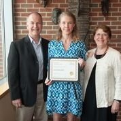 Jessie L. Greenwell, center, The Beulah M. Price Scholarship Cofac winner with Greg Faller, Assistant Dean and Susan Picinich, Dean.