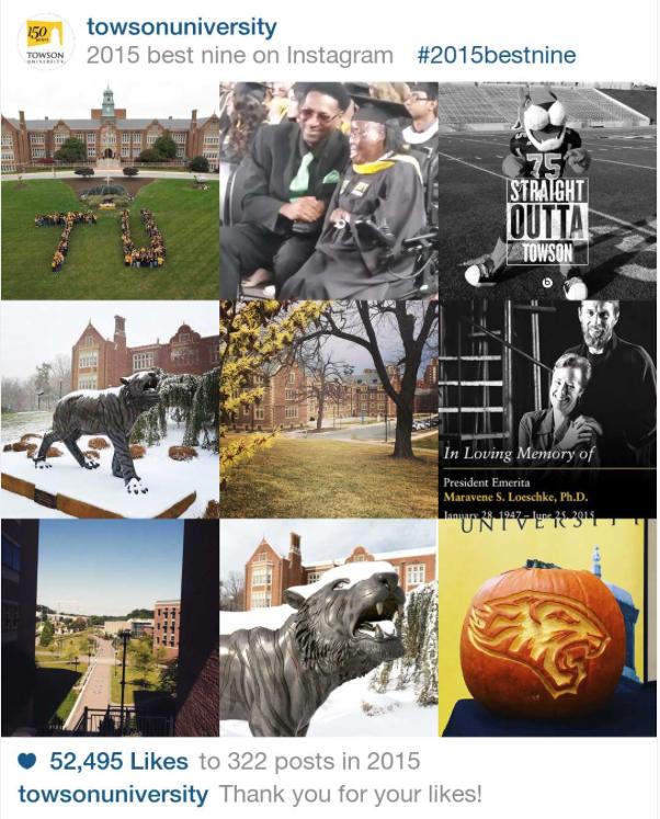 #bestnine2015 @towsonuniversity Instagram collage